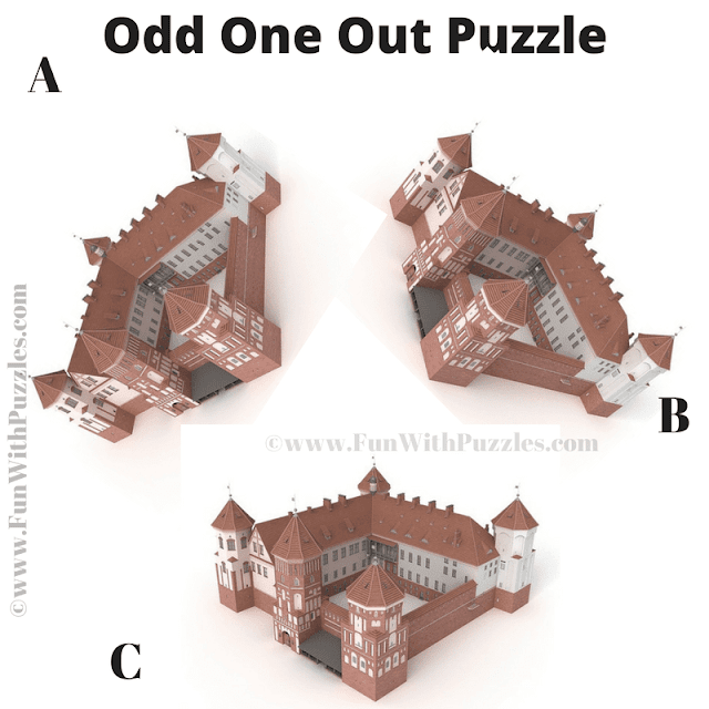 It is the Picture Riddle in which your challenge is to spot the castle which is different from other two castles.