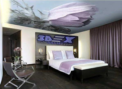 3d ceiling for bedroom, 3d photo printing on bedroom false ceiling 2019