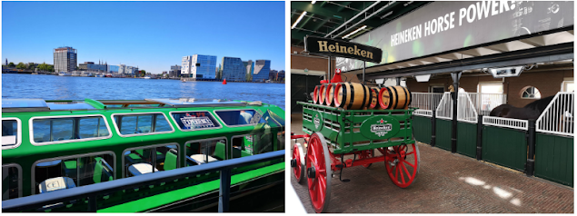 Image of the Rock The City Tour Heineken Experience Canal Cruise Boat and inside the Heineken experience an image of a branded barrel cart and the stables of the horse that we're used to pull it.