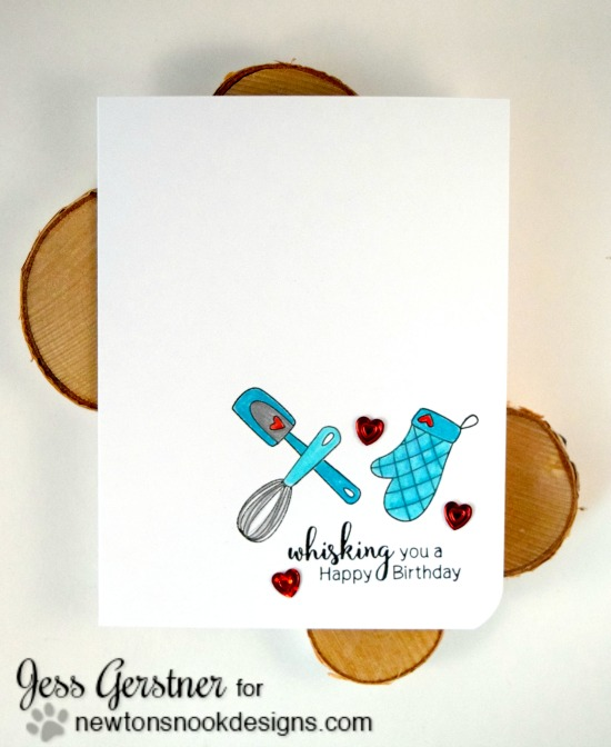 Whisking Baking Birthday Card by Jess Gerstner | Made from Scratch Stamp Set by Newton's Nook Designs #newtonsnook