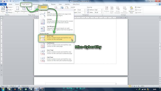 Cara Membuat Halaman Berbeda Posisi Di Word 2010