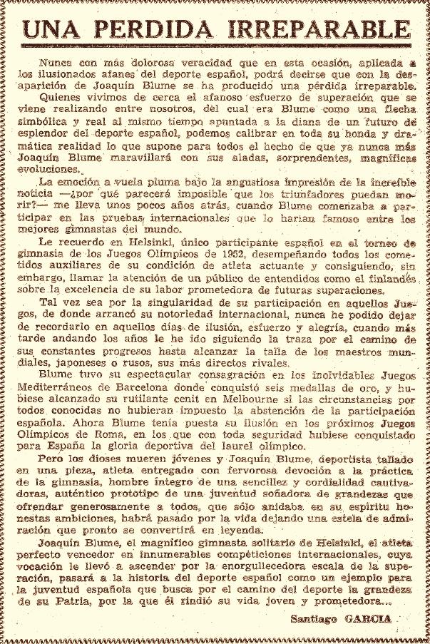 Joaquín Blume, una pérdida irreparable