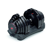 Bowflex SelectTech ST 1090 Adjustable Dumbbell, with weight setting range between 10 and 90 lbs in 5 lb increments