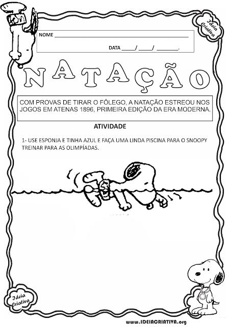 Atividade Olimpíadas Modalidade Natação Snoopy