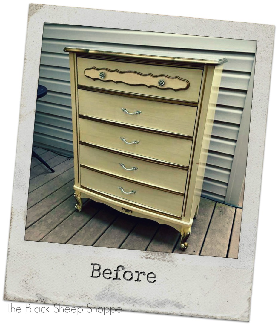 Before photo of French Provincial style chest of drawers.