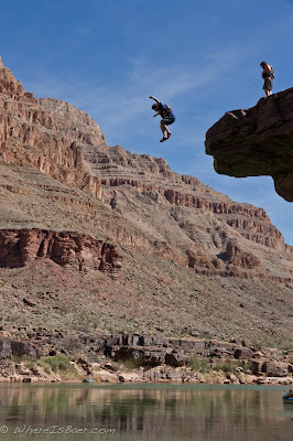 Jake Rehn taking the leap, clif jumping, colorado river, grand canyon, chris baer