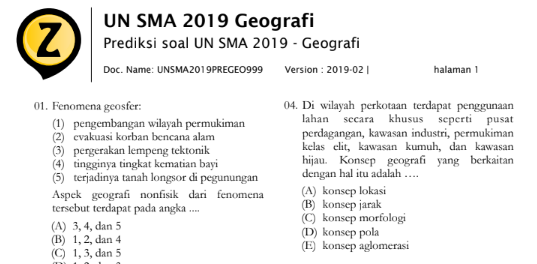 Latihan Soal UN Geografi SMA 2019 (Prediksi Soal Ujian Nasional SMA 2019 Mata Pelajaran Geografi), tomatalikuang.com