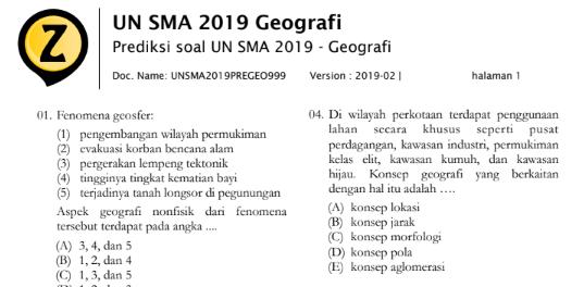 Latihan Soal UN Geografi SMA 2020 (Prediksi Soal Ujian Nasional SMA 2020 Mata Pelajaran Geografi), tomatalikuang.com