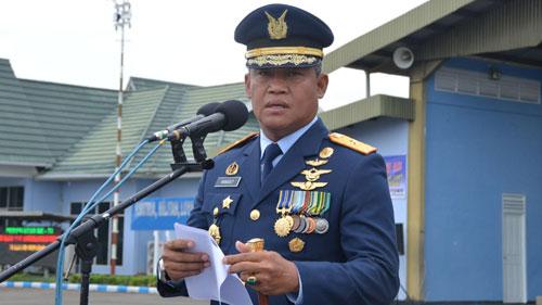Komandan Lanud (Danlanud) Supadio, Marsekal Pertama (Marsma) TNI Minggit Tribowo.  Sumber Kepala Penerangan Pangkalan TNI AU Supadio