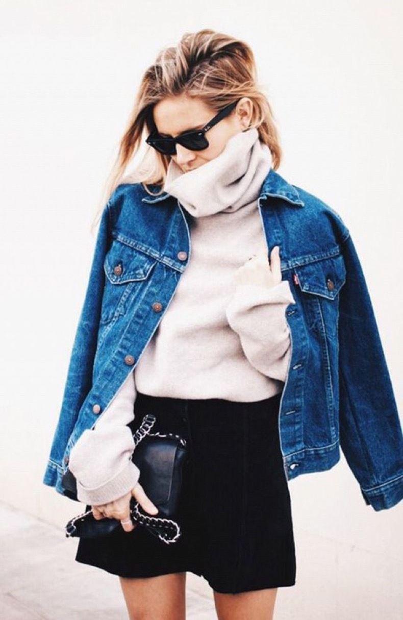 winter fashion trends / denim jacket + white sweater + bag + black skirt