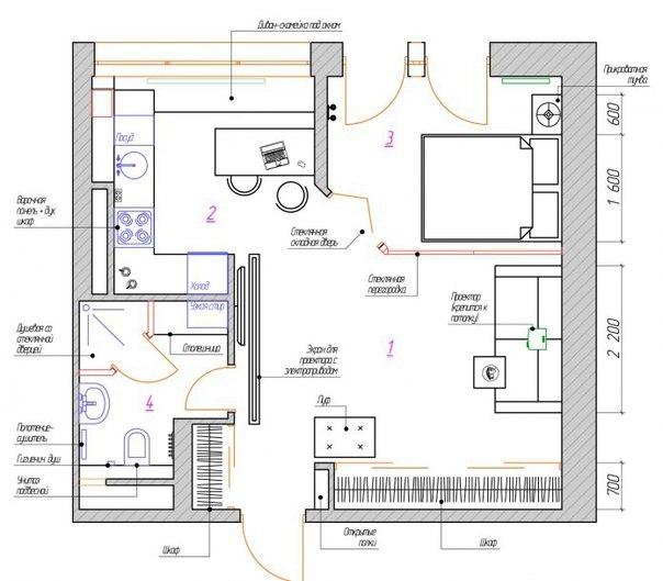 проект интерьера квартиры студии