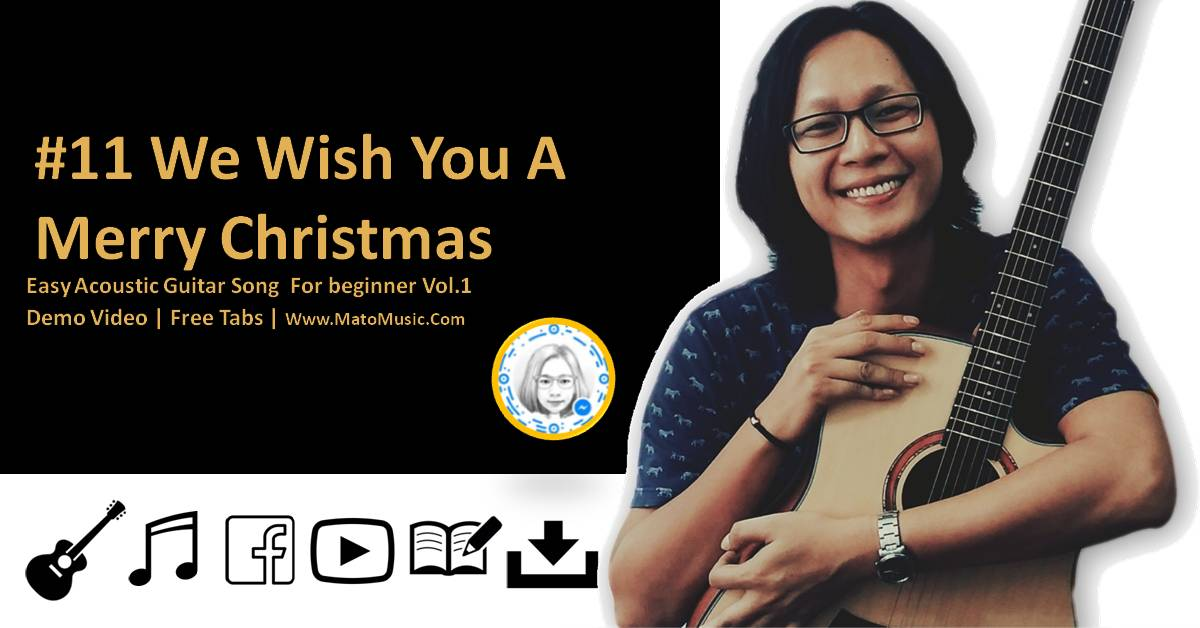 We Wish You Merry Christmas Acoustic Guitar Tabs For Beginner | Video | Tabs by mato music