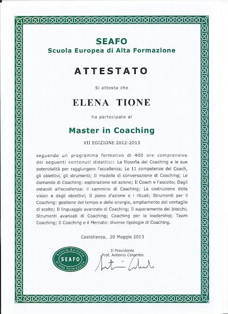 Elena Tione | Attestato Master in Coaching presso SEAFO, anno 2013