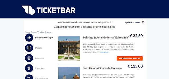 Ticketbar para ingressos para Florença