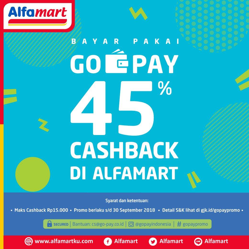 Alfamart - Promo Diskon 45% Bayar Pakai GO-PAY (s.d 30 Sept 2018)