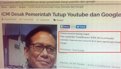 Situs ICMI diblokir duluan setelah usul blokir Google dan youtube