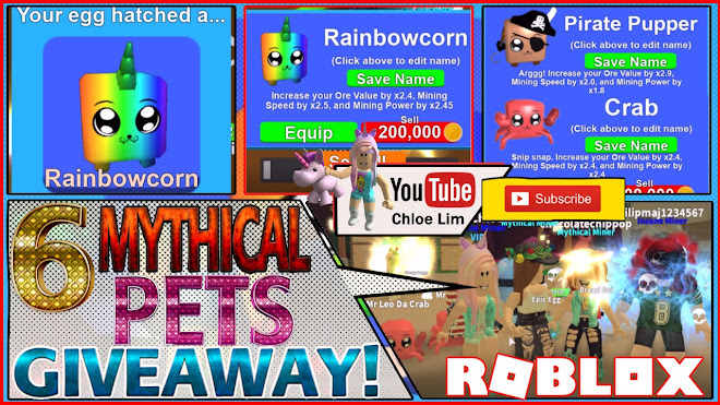 Roblox Mining Simulator Gameplay! MYTHICALS LOWER THE VOLUME! Hatching A Rainbowcorn and 6 Mythical Pets GIVEAWAY!