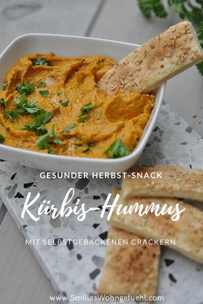 Smillas Wohngefuehl Kuerbis Hummus mit Sesam Crackern vegan