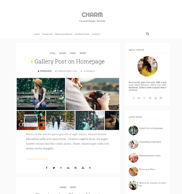 Charm - Personal Blogger Template