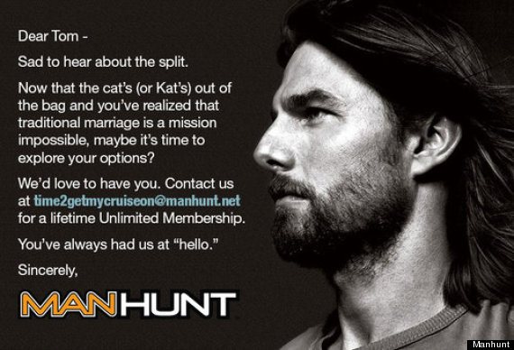 Huffington Post Reports That Manhunt A Gay Dating Social Networking Site Is Offering Tom Cruise A Lifetime Membership As Consolation For His Upcoming