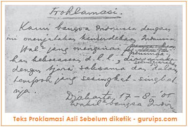 gambar dari teks proklamasi sebelum diketik
