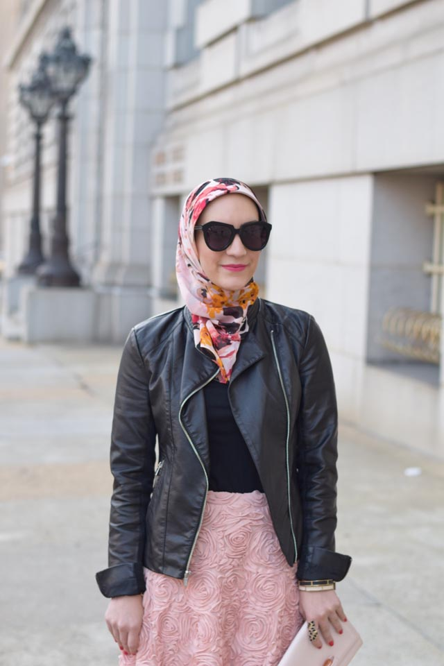 Valentine's Day Outfit Inspiration-Pink Skirt-Leather Jacket
