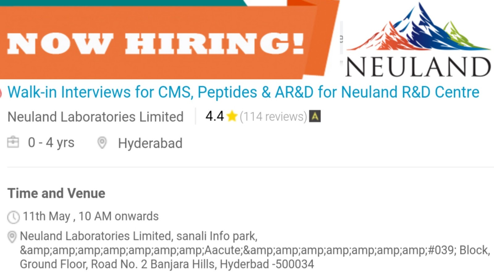 Walk-in Interview For AR&D