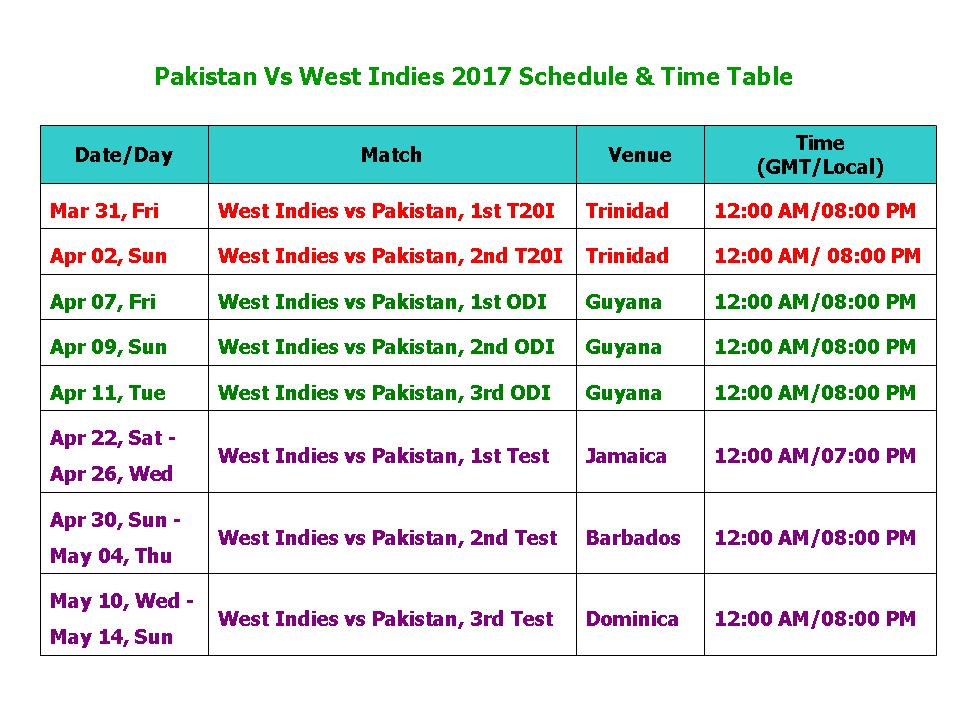 Learn New Things Pakistan Vs West Indies 2017 Schedule  Time Table