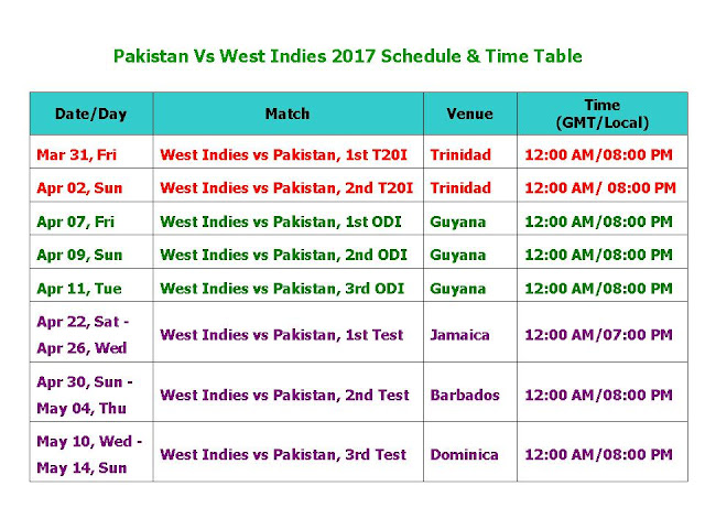 Pakistan Vs West Indies 2017 Schedule & Time Table,Pakistan tour of West Indies,2017,PAK vs WI 2017 series,West Indies vs Pakistan 2017 schedule,fixture,time table,local time,GMT IST local time,match detail,West Indies vs. Pakistan series,ODI series,test series,t20 series,full match schedule,icc cricket calendar,all schedule,Pakistan vs West Indies 2017,cricket schedule,venue,day date,place,match timing,Pakistan timing (3 ODIs, 3 Tests, 2 T20s) Start from Mar 31 2017 to May 14 2017  Click here for more detail..