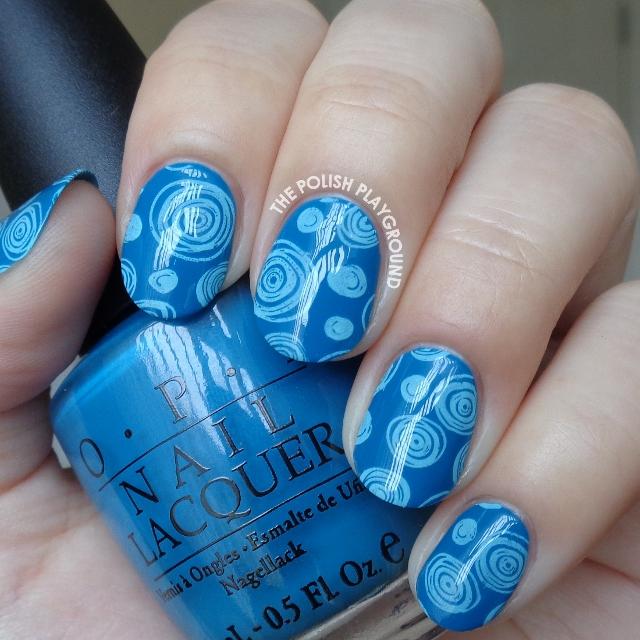 Blue on Blue Circle Doodles Stamping Nail Art