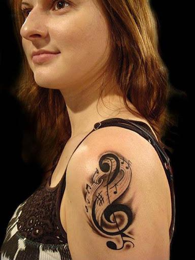 Do ombro música tatuagem idéias de lindas mulheres