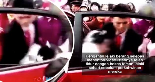 Pengantin lelaki mengamuk, isteri kantoi video 'tidur' dengan ex bf sehari sebelum kahwin dalam parti bujang