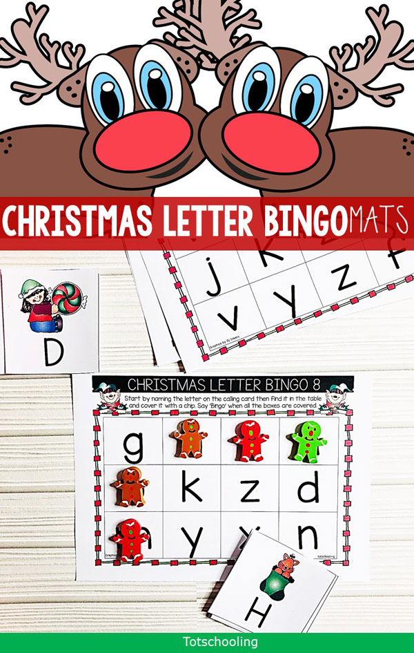 FREE printable Christmas Letter Bingo game for preschool and kindergarten kids. This is a great way to practice letter recognition, both uppercase and lowercase. Perfect for a Holiday activity at home or in the classroom!