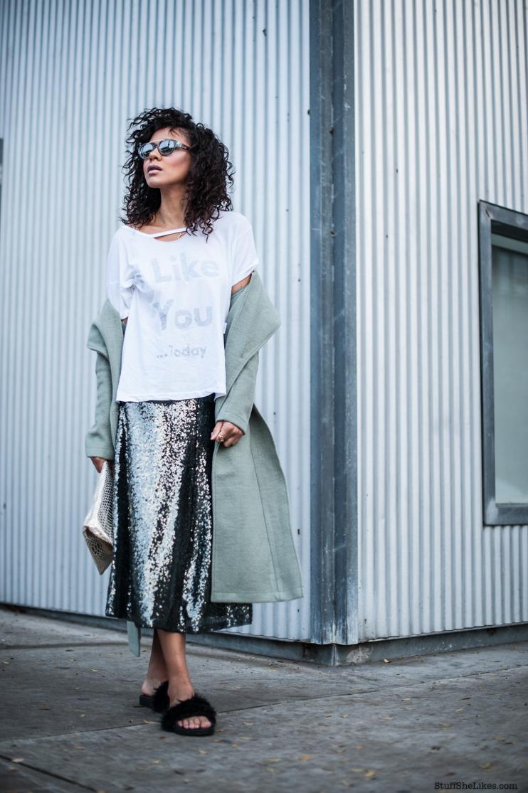 Wildfox tee shir, wildfox couture, lavish Alice coat, Zara sequins skirt, furry slides, furry sandals, Jeffery campbel sandals