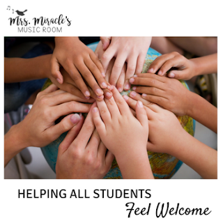 Helping all students feel welcome in the music room: Blog post includes great thoughts, an Egyptian folk song with recordings, and a free bulletin board display!