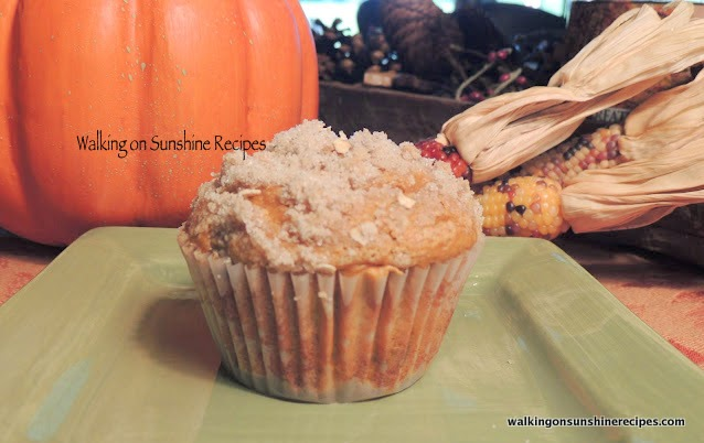 Pumpkin Muffins with a Crumb Topping.