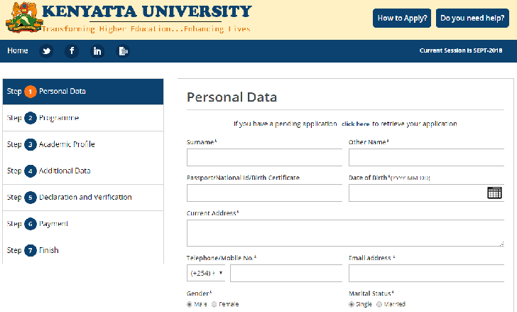 Kenyatta University Online Admission Application