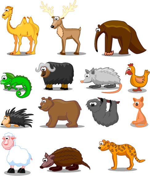 animales tipo cartoon vectoriales
