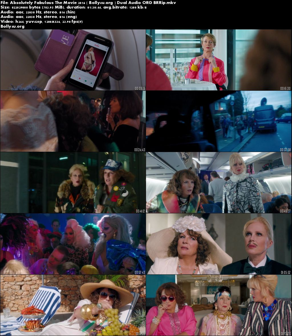 Absolutely Fabulous: The Movie 2016 BRRip 480p 300Mb Dual Audio Download