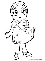 Mewarnai Gambar Anak Soleha Memakai Baju Muslim Pergi Mengaji Kartun