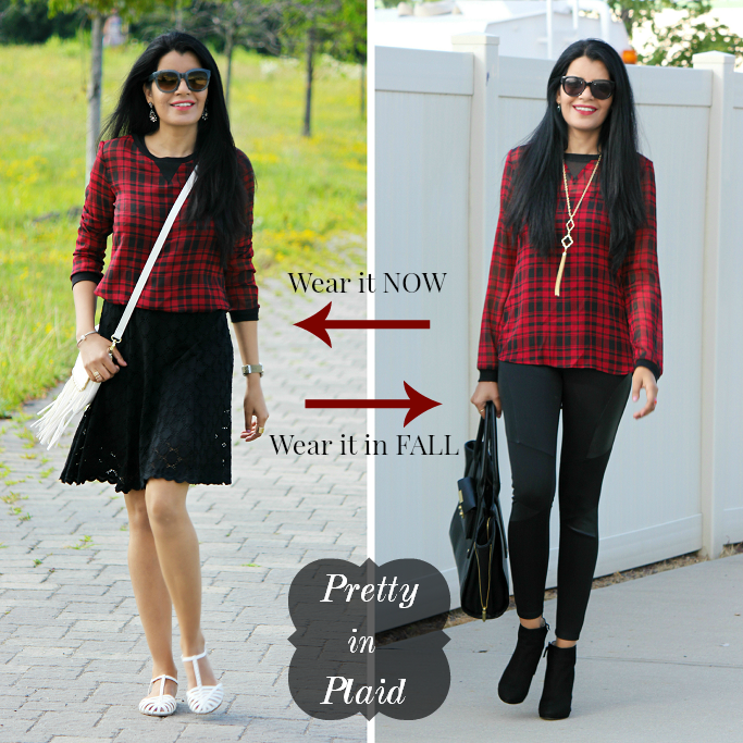 #SearsStyleFind, Plaid Looks For Summer, Plaid Looks For Fall, How To Style A Plaid Blouse, Plaid Looks