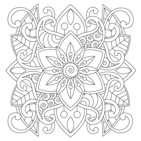 Tranh tô màu trang trí hình vuông với hoa và lá
