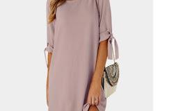 4a2ca5ed65d3 Hot ZANZEA Solid Scoop Neck Half Sleeve Loose Chiffon Short Vestidos Summer  Women Elegant Bow Tie Party Beach Mini Dress