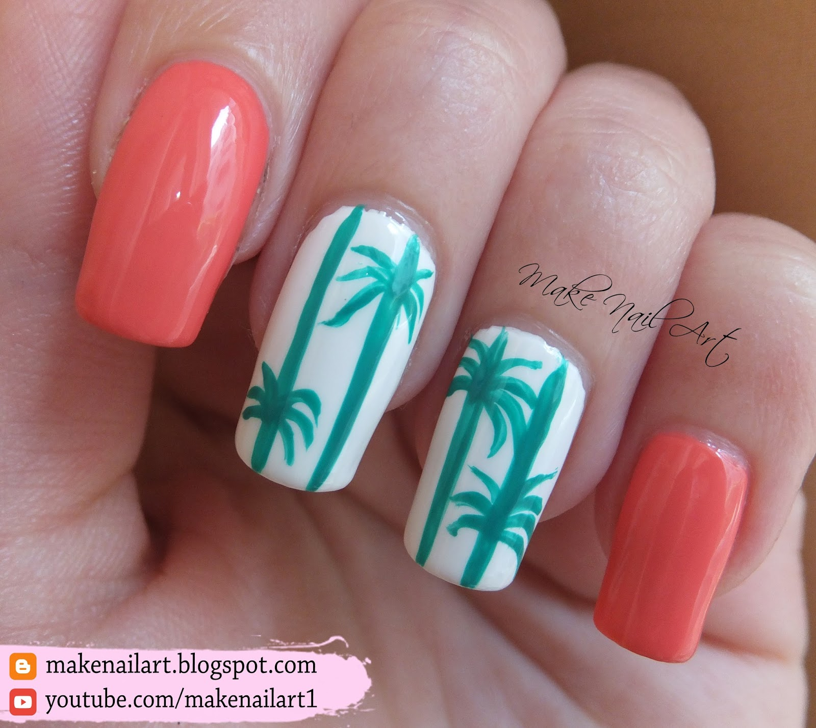 Make Nail Art: Summer Palm Tree Nail Art Design Tutorial