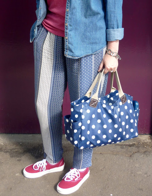 Denim Shirt, Printed Trousers & Spotty Bag | PetiteSilverVixen