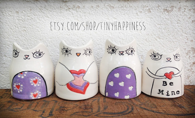 cat and owl bud vases with hearts