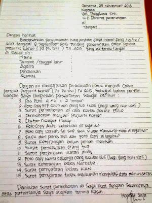 Contoh Surat Lamaran Menjadi Prajurit Tni Tinta Biru