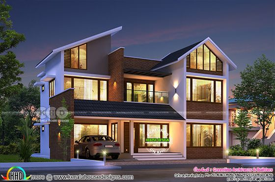 3078 sq-ft 4 bedroom slanting roof mix home plan