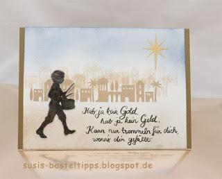 weihnachtskarte mit stampin up stempelset musical season framelits musikinstrumente big shot bethlehem heilige nacht kleiner trommeler drummer boy weihnachtslied