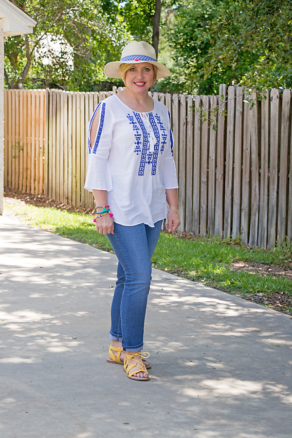 how to wear a straw hat, embroidered top